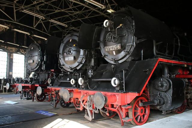 SEM: Güterzug-Einheitslokomotiven 43 001, 44 1338 und 41 1225-6 im ehemaligen Bw Chemnitz-Hilbersdorf