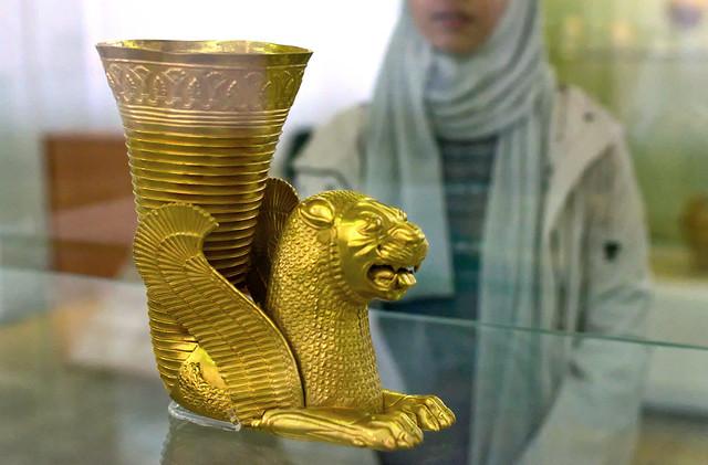 Persian Lion Rhyton golden vase from 5th Century BC, National Museum of Iran, Tehran