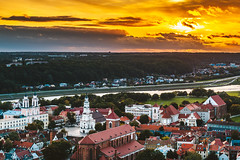 Sunset | Kaunas old town | Aerial