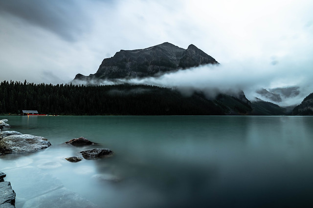 MISTY EARLY MORNING LAKE LOUISE