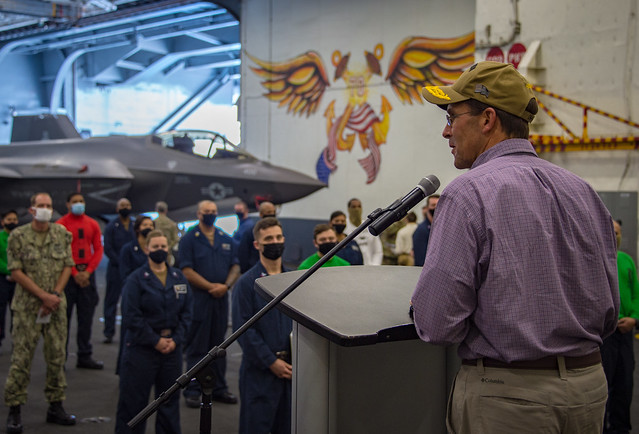 Secretary of Defense Mark T. Esper delivers remarks to Sailors in the hangar bay of the Nimitz-class aircraft carrier USS Carl Vinson (CVN 70).
