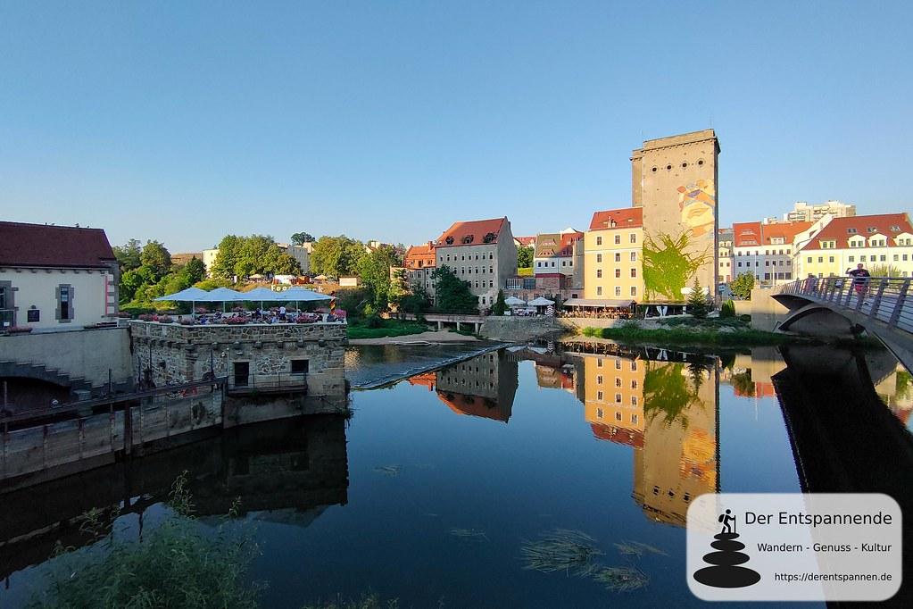 Vierradenmühle und Blick zur polnischen Seite der Lausitzer Neiße (Görlitz)