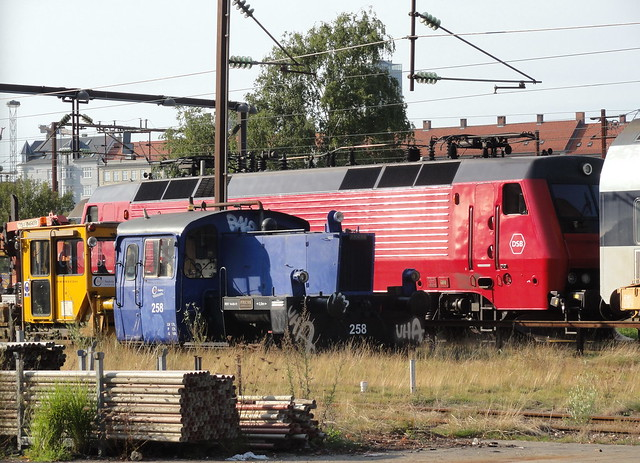 With driver´s window open, DSB EA3020 takes a break at 4.30 on a tuesday afternoon