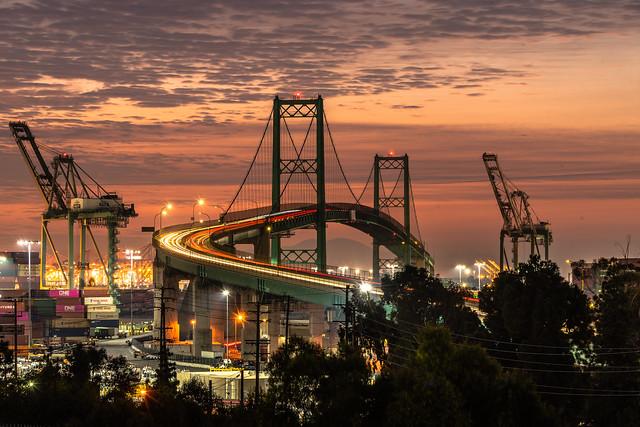 Epic Cloudy Sunrise at Vincent Thomas Bridge