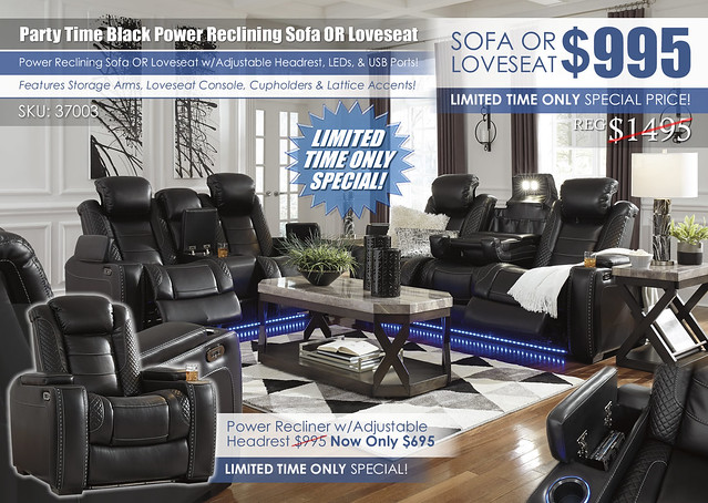 Party Time Power Reclining Sofa & Loveseat_37003_New