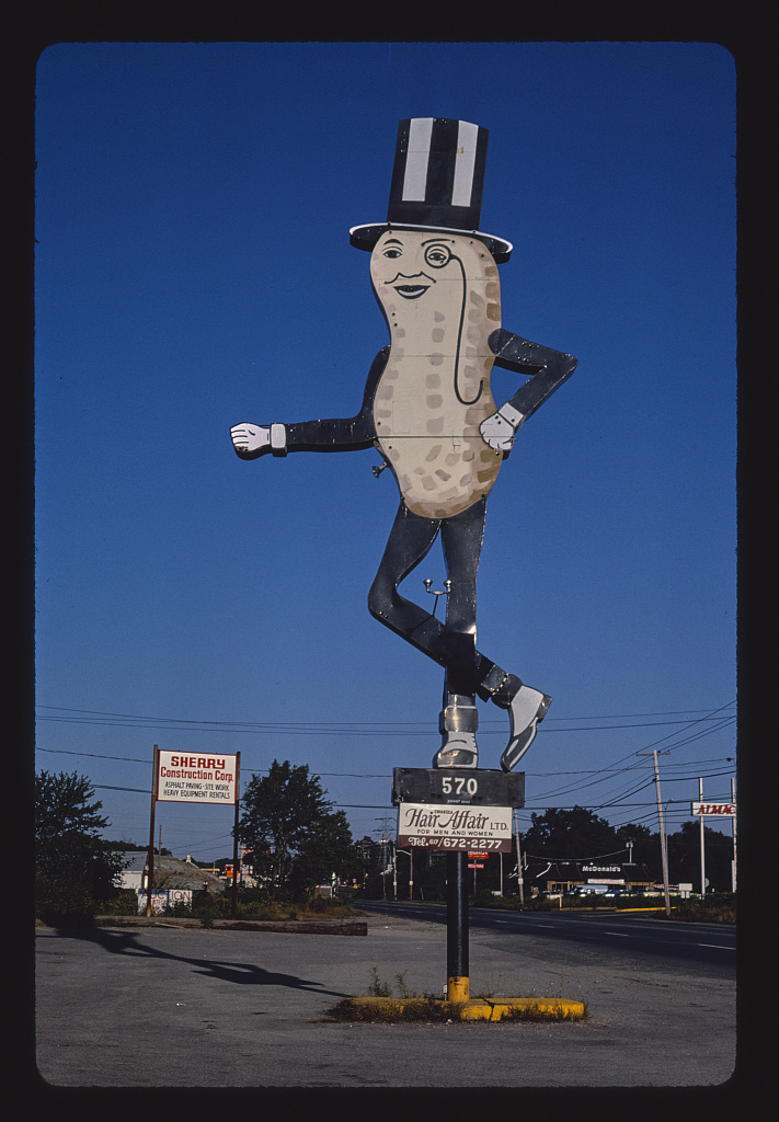 Mr. Peanut sign (Hair Affair sign), angle 1, Route 6, Swansea, Massachusetts (LOC)