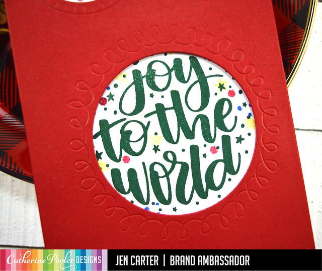 Jen Carter Slimline Peeking Pets Bull Dog  Joy to the World Christmas Closeup 2