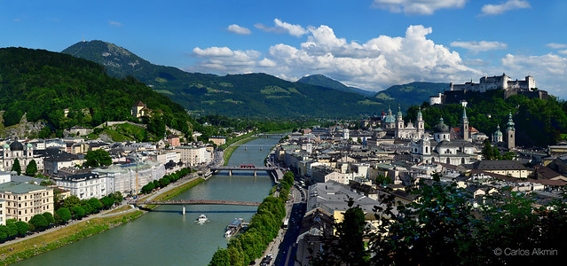 Salzbourg - Austria - Panoramic with the Salzach River in the middle
