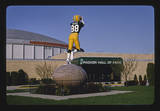 Green Bay Packer Hall of Fame, football player statue, angle 3, Green Bay Avenue, Green Bay, Wisconsin (LOC)
