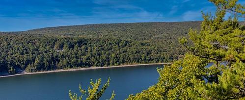 outside water landscape lake devilslake wisconsin blue green sky trees nature outdoor