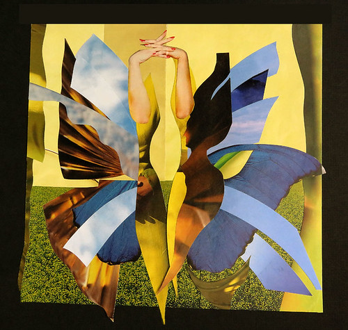 Magazine collage of Gemini, an air sign, shown as a butterfly with wings containing pieces of blue sky, with touches of lemon yellow and light-hearted orange