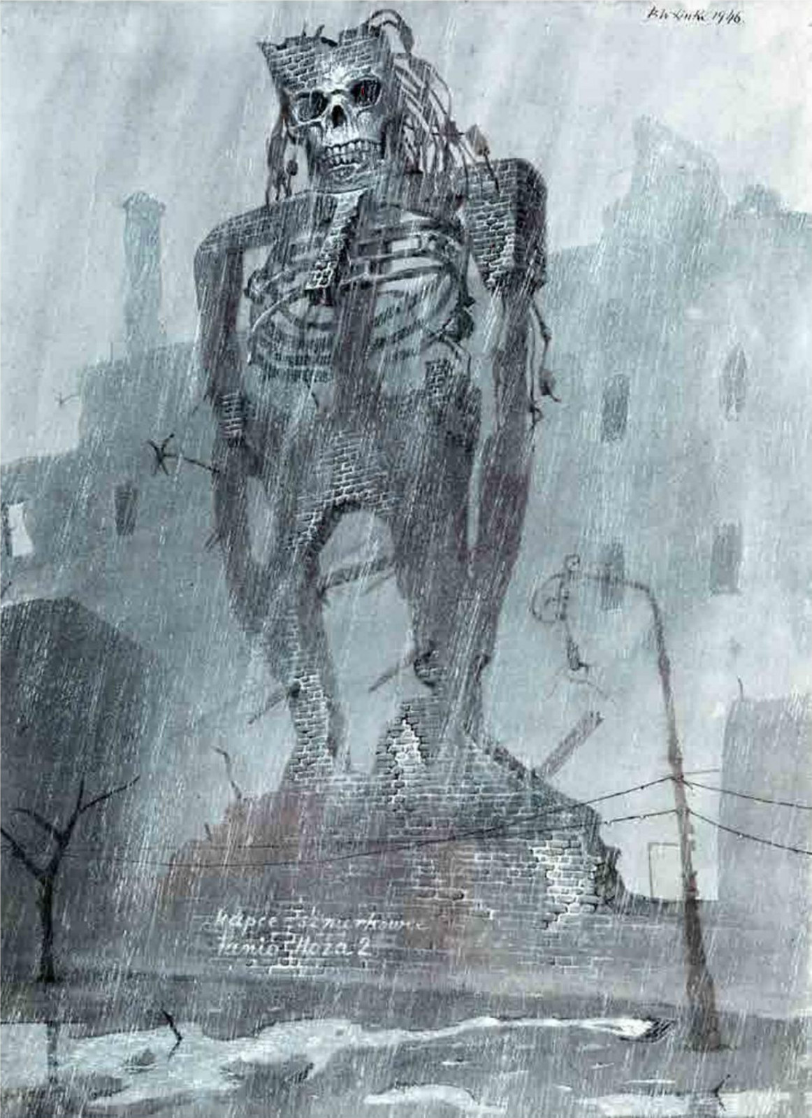 """Bronisław Wojciech Linke - Rainy Weather, from the series """"Screaming Stones"""", 1946"""