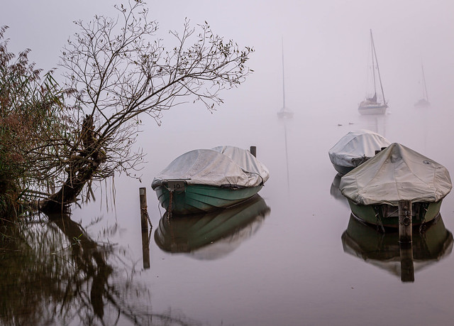 Early morning on the Ammersee lake .