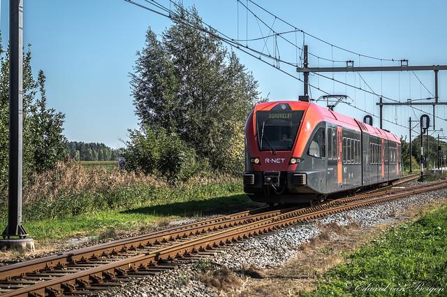Een Stadler GTW met tussenbak, verlaat hier station Beesd, richting Dordrecht.