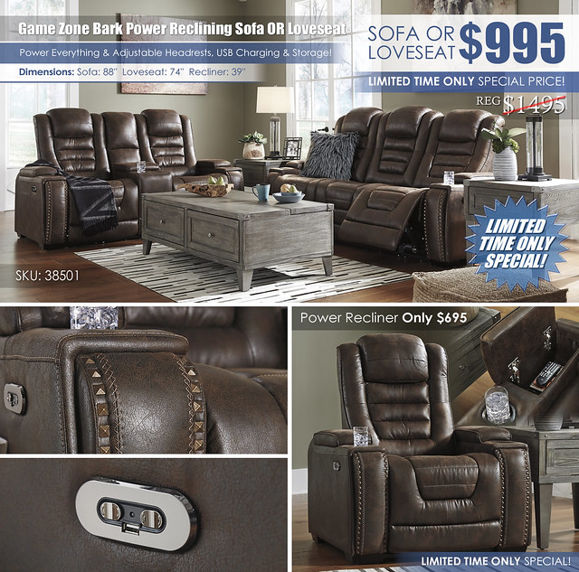 Game Zone Bark Power Reclining Sofa OR Loveseat_wInsert_38501-15-18_New
