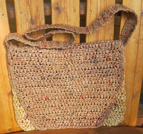 Plarn Messenger Book Bag crochted with plastic bags