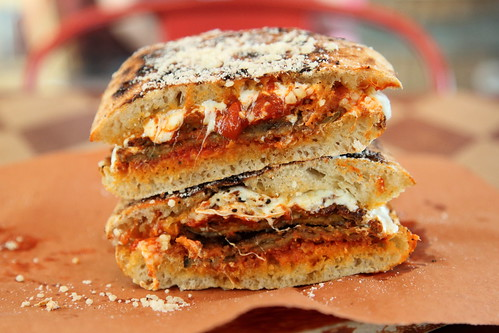 Eggplant parmesan sandwich, Kingsbridge Social Club, Kingsbridge, Bronx