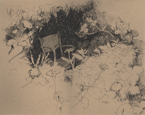 Iron Chair in the Garden ink