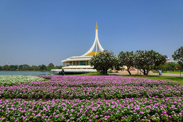 Flower beds in front of Rajamangala hall in Suan Luang Rama 9 park in Bangkok, Thailand