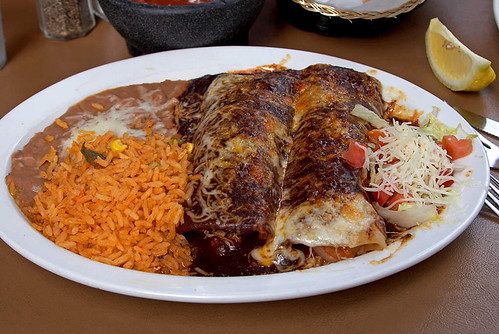 Enchiladas with rice and beans in Mexico