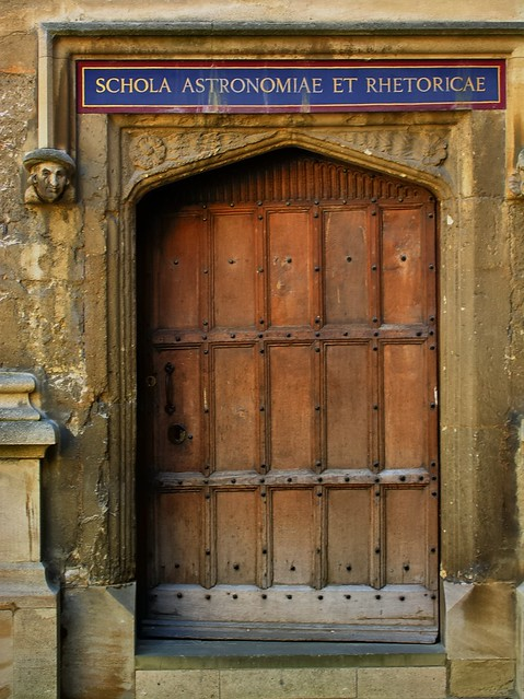 Astronomers' and rhretoricians' door, University of Oxford, England