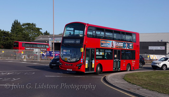 Red at Hadleigh Depot! First week in service for First Essex (Hadleigh) Volvo B9TL / Wright Gemini 2 36143, BJ11 EAF ex-Tower Transit, via Ensign, and new to First London as VN36143, used on service 827