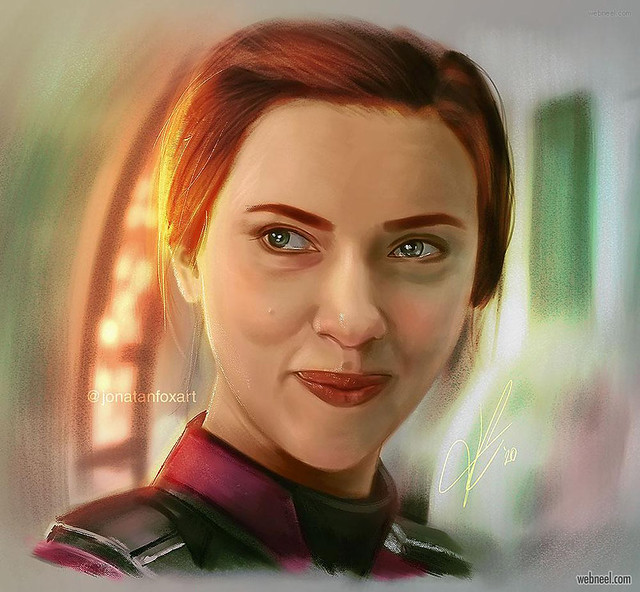 Painting Scarlett Johansson American Actress and Singer