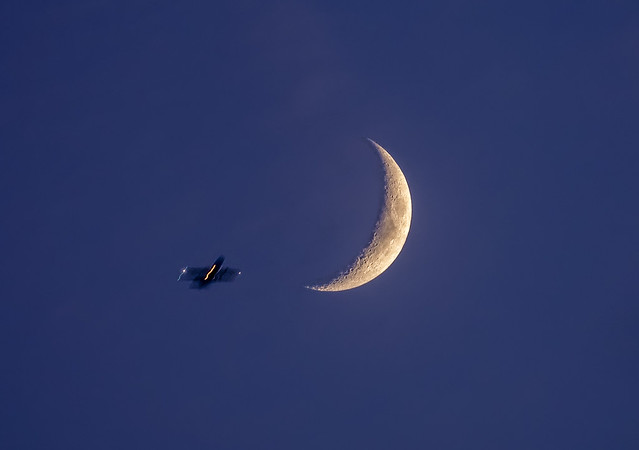 August 22, 2020 Waxing Crescent Moon...and a fly bye