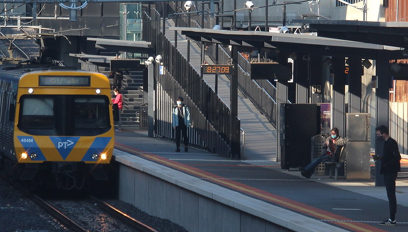 Bentleigh station, peak hour (during COVID-19)