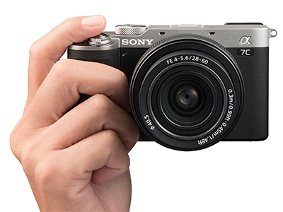 The new Sony Alpha 7C fullframe camera with the FE 28-60mm F4-5.6 zoom lens.