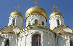 Russian Federation, Holy Moscow, Kremlin, the Fragment of East Façade of the Annunciation Cathedral since 1489 (Blagoveschensky Sobor, Благовещенский Собор),  Sobornaya Square, Tverskoy district. Православнаѧ Црковь.