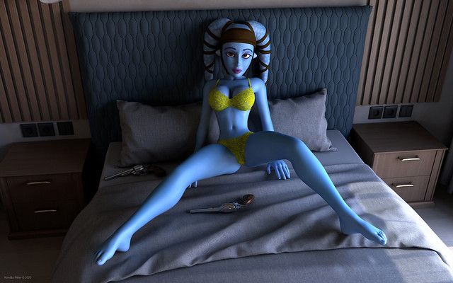 Sexy blue bombshell in the bed