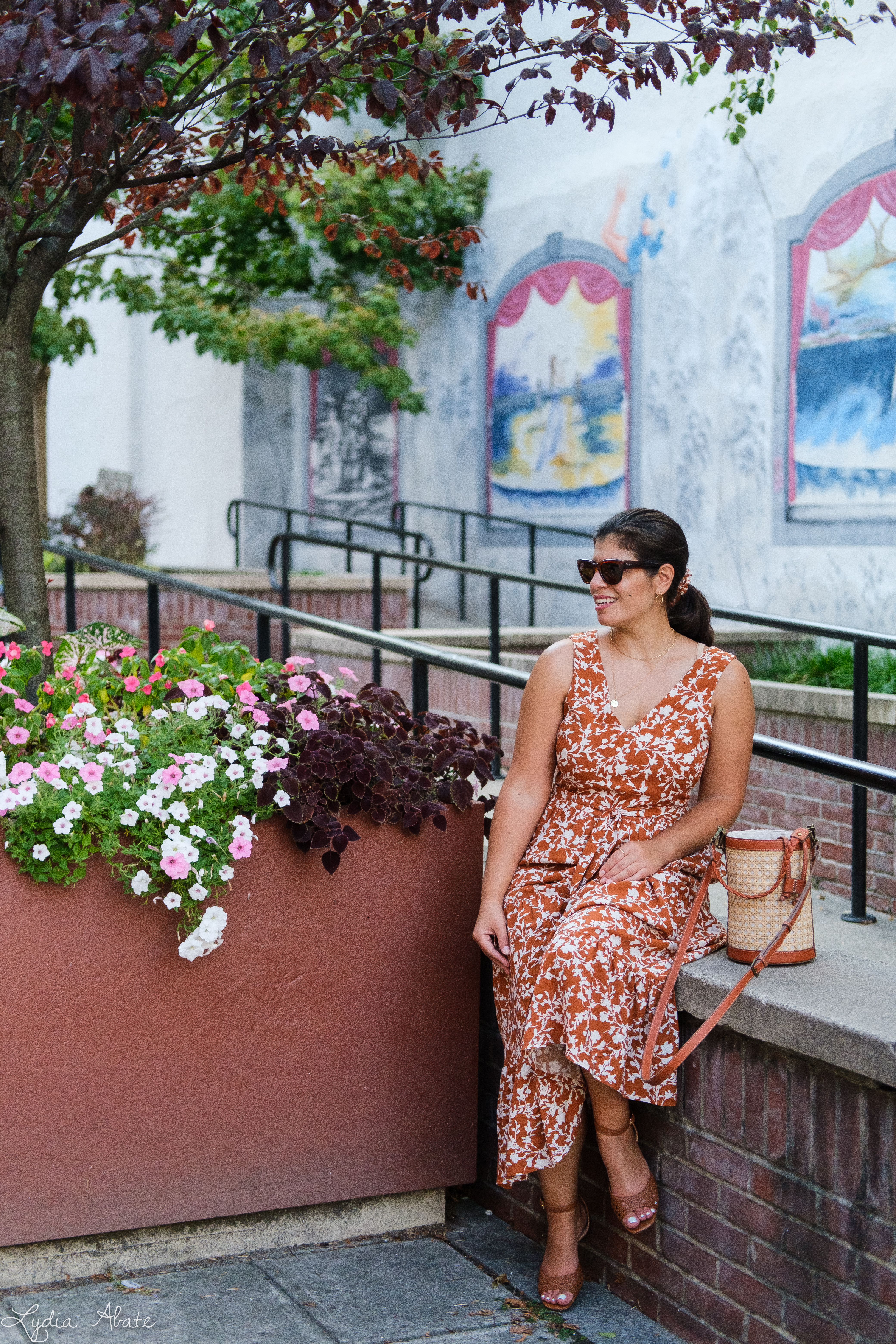rust floral maxi dress, caned bucket bag, brown sandals-15.jpg