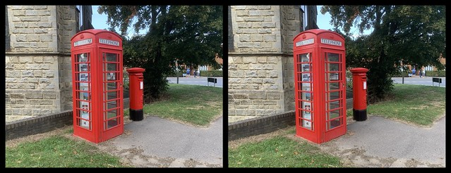 3D parallel view - traditional red phone box and postbox, in Crawley, West Sussex