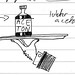 20001116 (?) Doodle of hairy butler hand holding out bottle of acetone