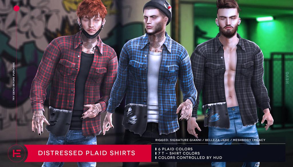HEVO - Distressed Plaid Shirts