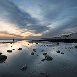 18. September 2020 - 18:58 - A combination of low tide coinciding with sunset drew me to one of my  favourite locations on the coast. A little cool in the fresh breeze but conditions stayed fair.  I liked the lone photographer standing in the middle distance setting up for the last light. Birling Gap, East Sussex - UK