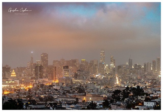 Dusk over downtown San Francisco