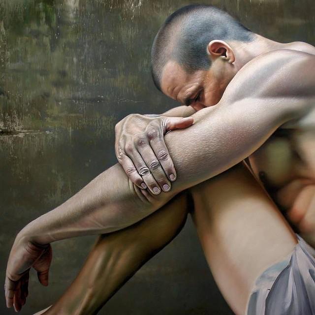 Realistic Oil Painting Sad Man
