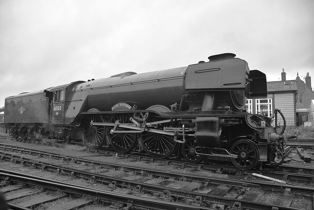Locomotive No.60103 'Flying Scotsman' moving off the shed at Wansford, after early morning preparation. Nene Valley Railway 29 09 2019 bw