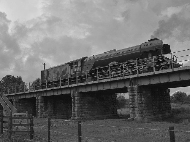 Locomotive No.60103 'Flying Scotsman' reversing over the Nene at Wansford, in a positioning move. Nene Valley Railway 29 09 2019 bw