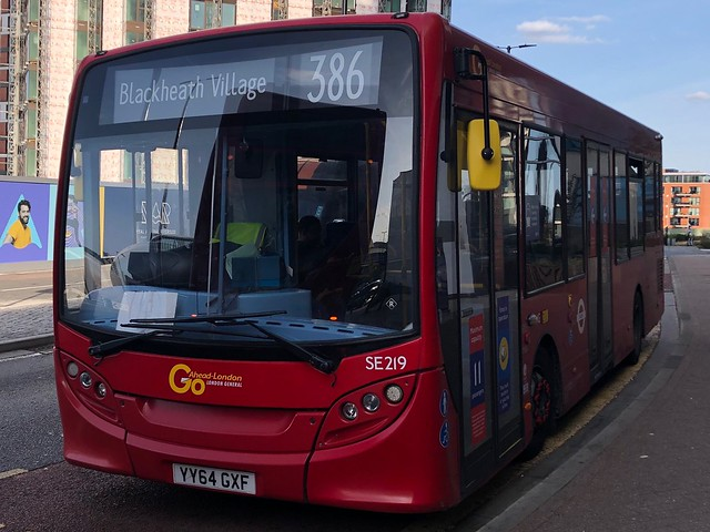 Ex-Docklands bus now working a wildly indirect but pretty good route that allows for thrashing and two big estate detours.   Go-Ahead London ADL Enviro 200 on the 386 to Blackheath Village.