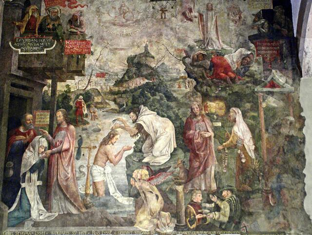 Frankfurt, Karmeliterkloster, Jesu Abschied von den Eltern und Taufe im Jordan - Jesus' farewell and baptism at the Jordan