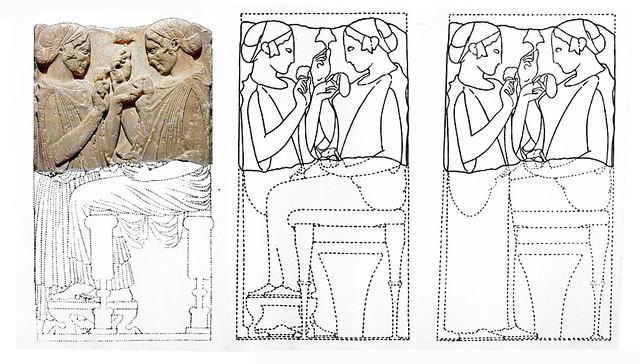 exaltation de la fleur 4c - stèle funéraire  [470-460 BC] - Louvre Ma-701 - reconstruction - Arachne, Köln