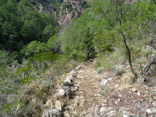 Le chemin après la cascade de Frassiccia : montée vers la plate-forme du téléphérique