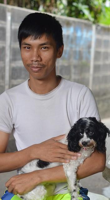 handsome boy with dog