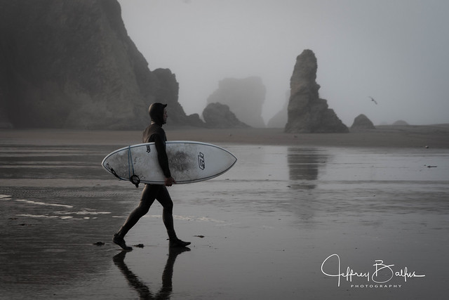 Surfer in Foggy Sunset Bandon Beach-in Explore 09/20/20 #76