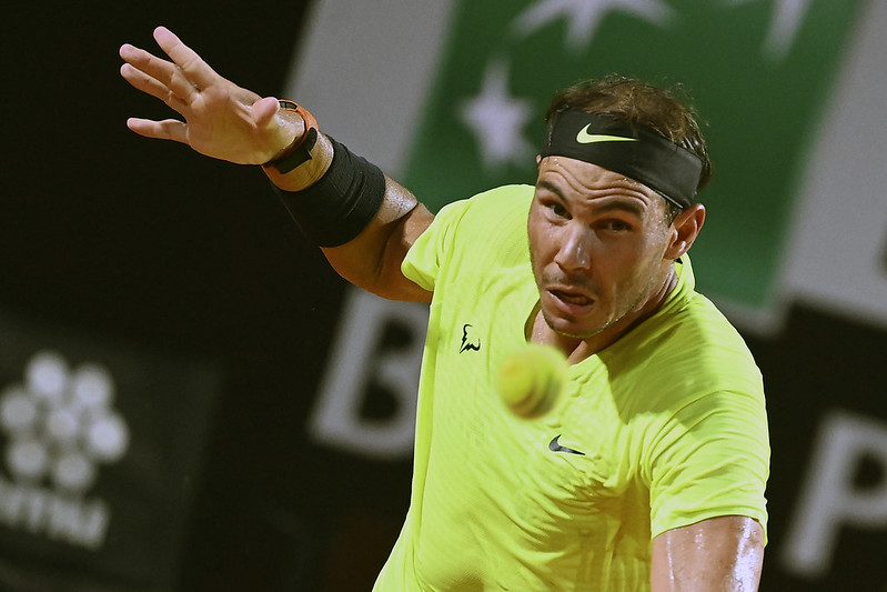 Rafael Nadal在羅馬大師賽於8強止步。(達志影像)