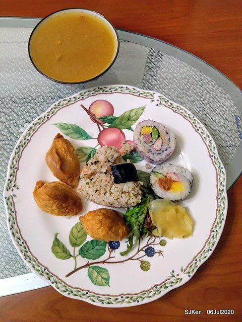 """Japan style Boxed meal of """"The Japan Spring restaurant"""" , SJKen, Taipei, July 6, 2020."""