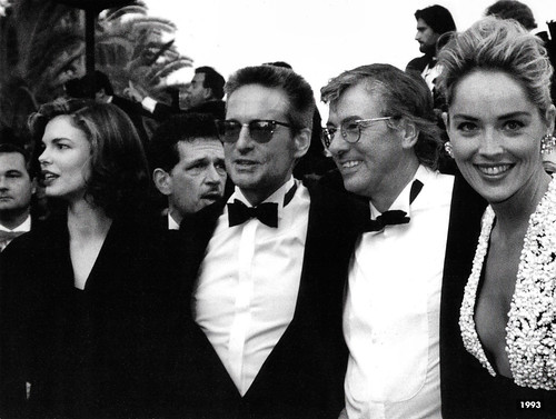 Jeanne Tripplehorn, Michael Douglas, Paul Verhoeven, Sharon Stone,  at the Premiere of Basic Instinct in Cannes